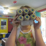 "A student used an egg carton to make her own set of ""spider eyes""."