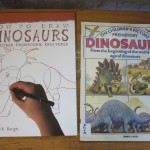 Some students were interested in drawing their own dinosaurs.